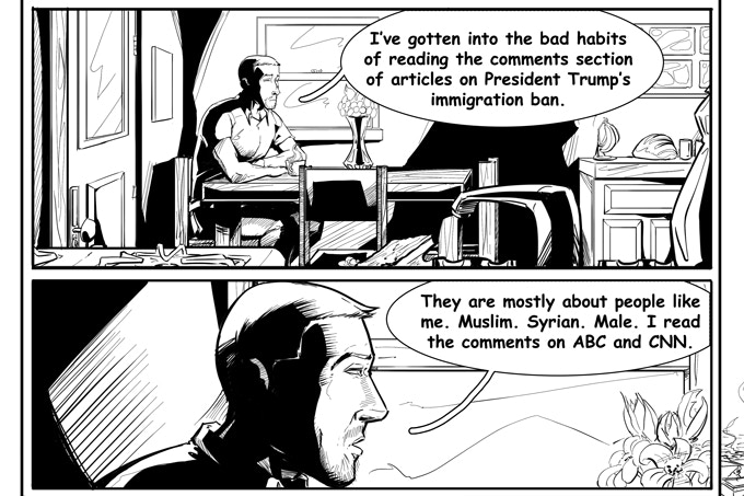Panel from 90 Days, 90 Voices' nonfiction graphic novel. Art by Jon Brown.