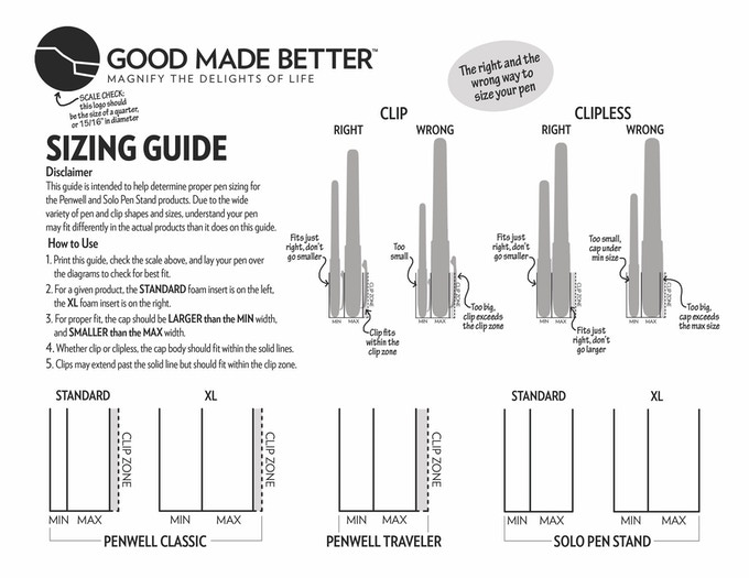 Penwell Sizing Guide