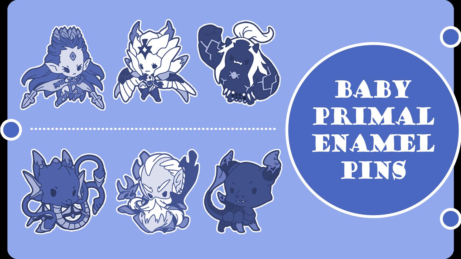 Final Fantasy XIV Baby Primal Enamel Pins by Maxx Merch