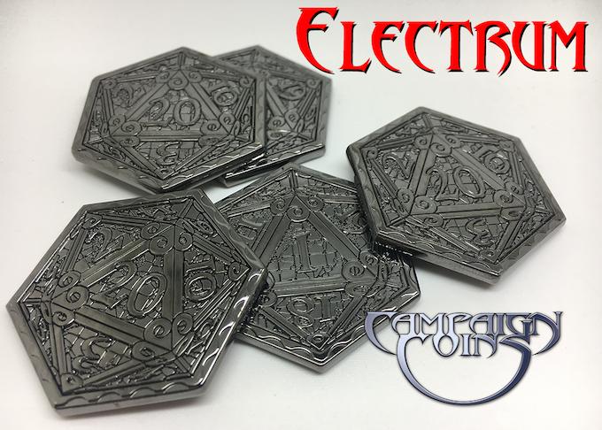 Epic D20 Coins in black metal Electrum