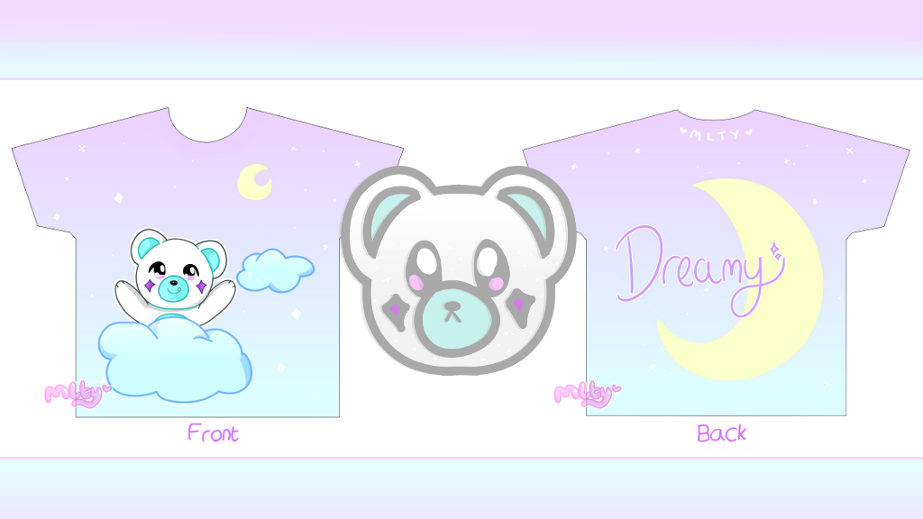Project image for Dreamy Bear Speckubear Glitter Pin and Full Print Tee