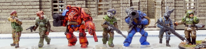 Scale comparison. Albedo Miniatures with GW WH40k Space Marine, Imperial Guard, and 28mm Modern Infantry Figure