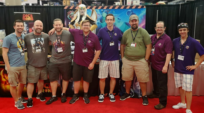 Team Roxley at Gen Con, complete with Kate Lucier as the Seraph from Dice Throne.