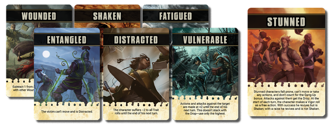 Gorgeous Status Cards you can hand out to players as their characters are Shaken, Stunned, Wounded, and more! (Art not final)