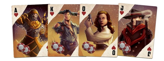 """The """"Pulp"""" suit of the all-new oversize Action Deck (used for initiative in the game)! A throwback to our favorite deck ever, with art by the original artist, Cheyenne Wright! (Art not final!)"""