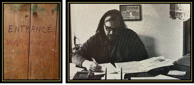 (Photos: Entrance to the Wargames Room and Gary Gygax.)