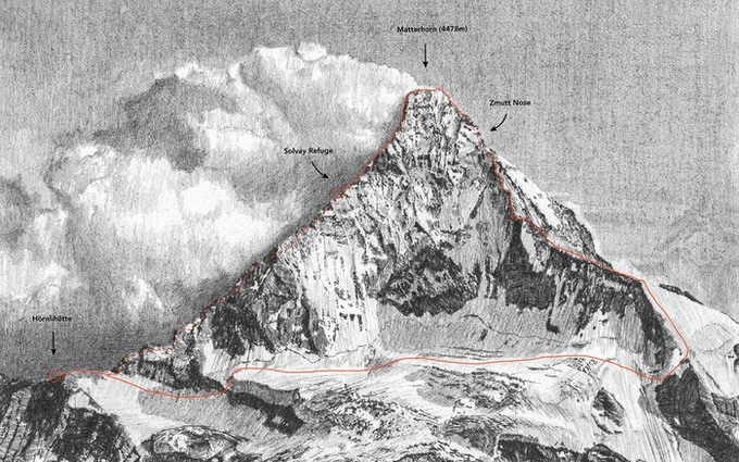 Matterhorn drawing (15 x 10cm, with topo information overlay)