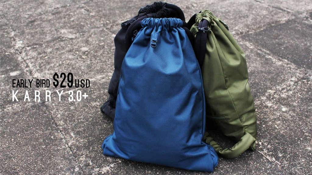 Karry 3.0+ minimal drawstring daily / weekend backpack / bag project video thumbnail
