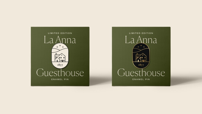Original enamel pin designed by Ben Wagner for the La Anna Guesthouse. Available in white enamel with black metal, white with brass and black enamel with brass.