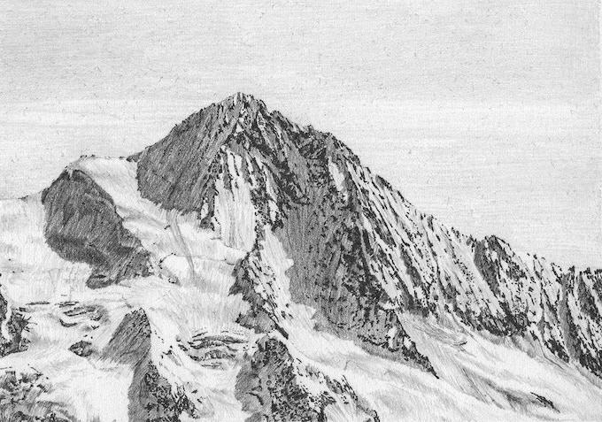 Finsteraarhorn pencil drawing (12 x 8 cm)