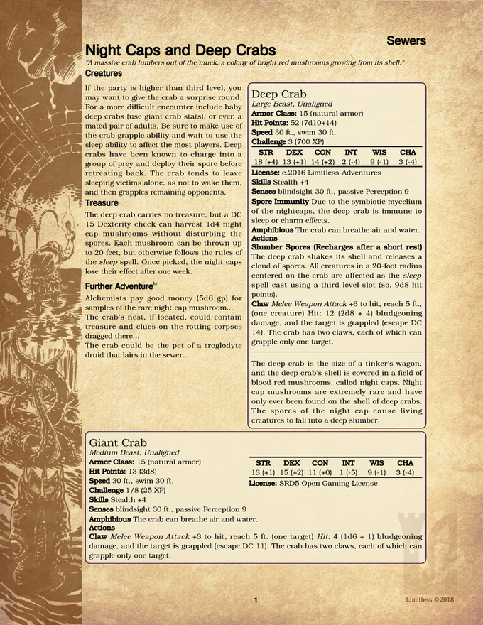 Sample Encounter: Night Caps and Deep Crabs from Sewer Encounters