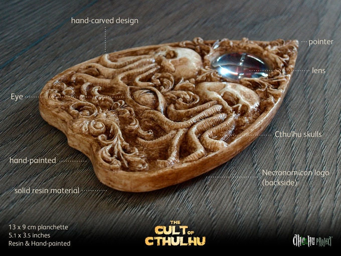 The Cthulhu planchette (click to enlarge)