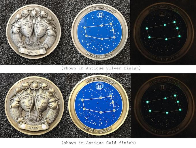 My Zodiac Coin - Swarovski® Crystals, 3D, Glow-In-The-Dark by My