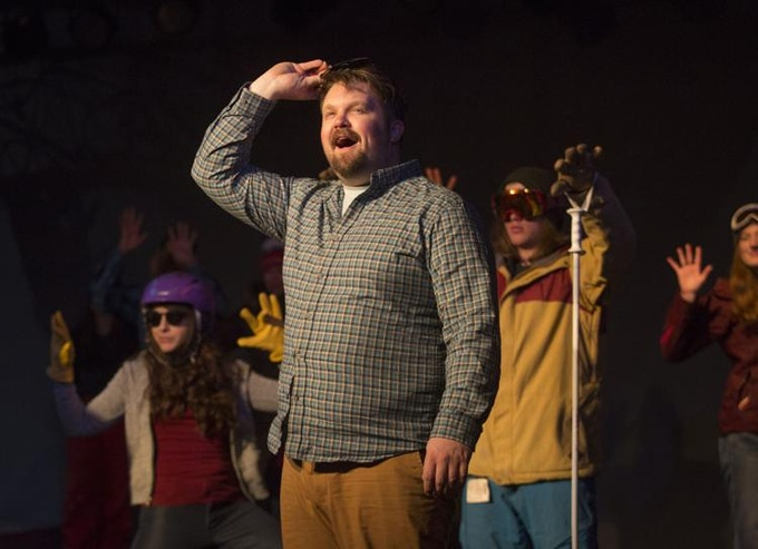 "Writer and director Andrew Munz with his cast of ""I Can Ski Forever"" (ASHLEY COOPER / JH NEWS & GUIDE)"