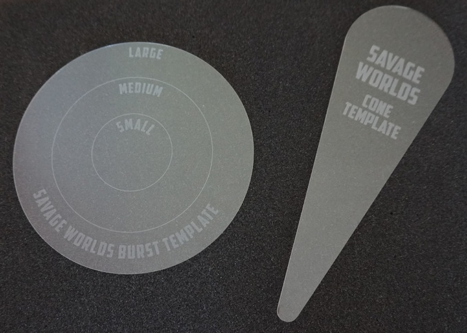 Clear acrylic Blast and Cone Templates with laser etched markings for maximum durability!