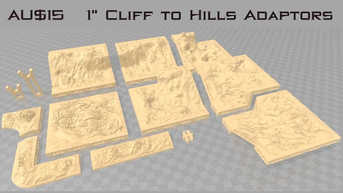 "These adaptors are designed to enable you to connnect 1"" hills and cliff sets"