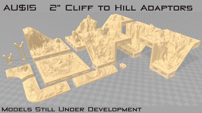 "These adaptors are designed to enable you to connnect 2"" hills and cliff sets"
