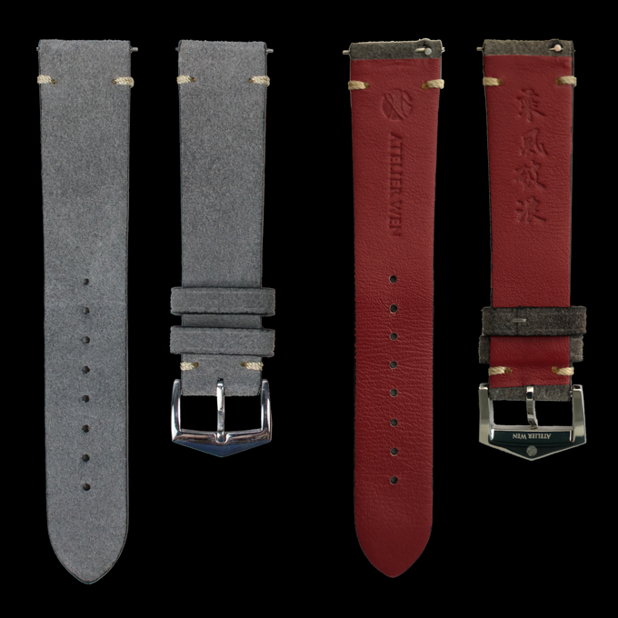 Add-on strap 1: grey nubuck, red calf leather lining