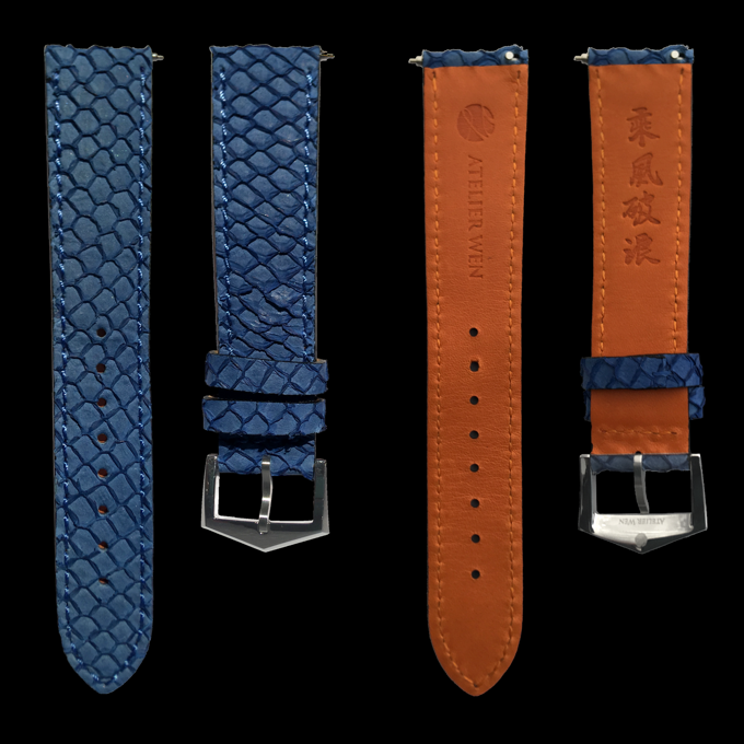 Add-on strap 2: genuine blue salmon leather, orange calf leather lining