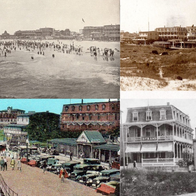 Clockwise from upper left:  c. 1880 beachfront; c. 1910 view of the beachfront; c. 1920 postcard, 5 Perry Street (then called The Strand); c. 1920 postcard of 5 Perry Street (pink building in upper right corner) overlooking the beach.