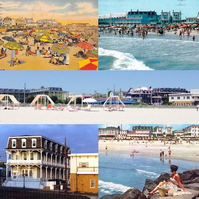 Clockwise from upper left:  1940s beach view with umbrellas; 1960s postcard of the beach at Perry Street; current day (middle); c. 1967 postcard view from the ocean; 1980s facade.