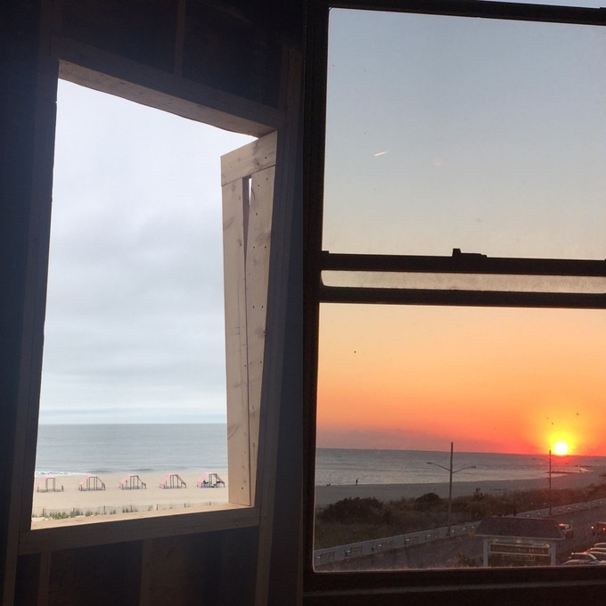 Ocean and sunset views through south- and west-facing windows of the suites.