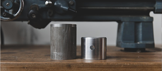 A solid block of aluminium is used for each clock body