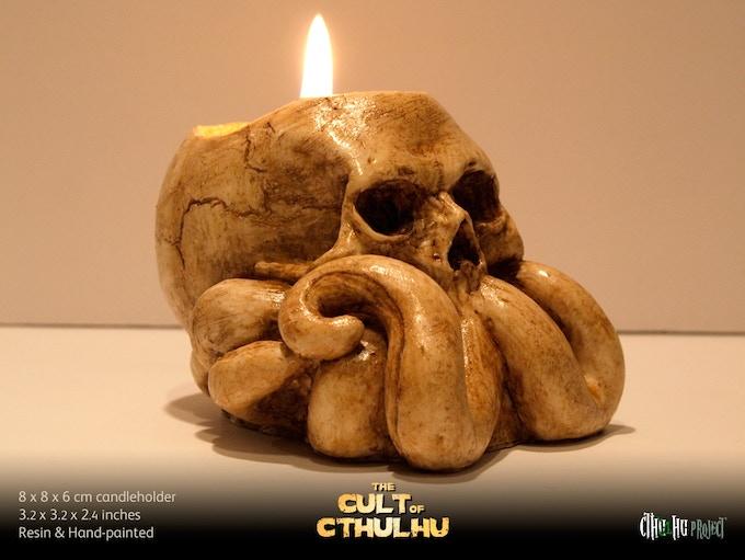 Cthulhu skull candleholder