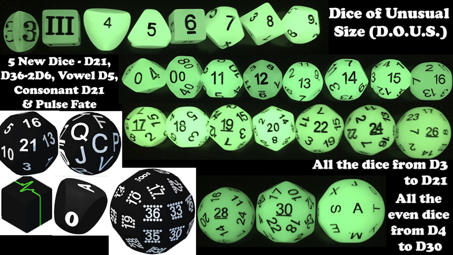 New unusual dice.  A D21, D36, Pulse Fudge Die, Vowel D5 and Consonant D21