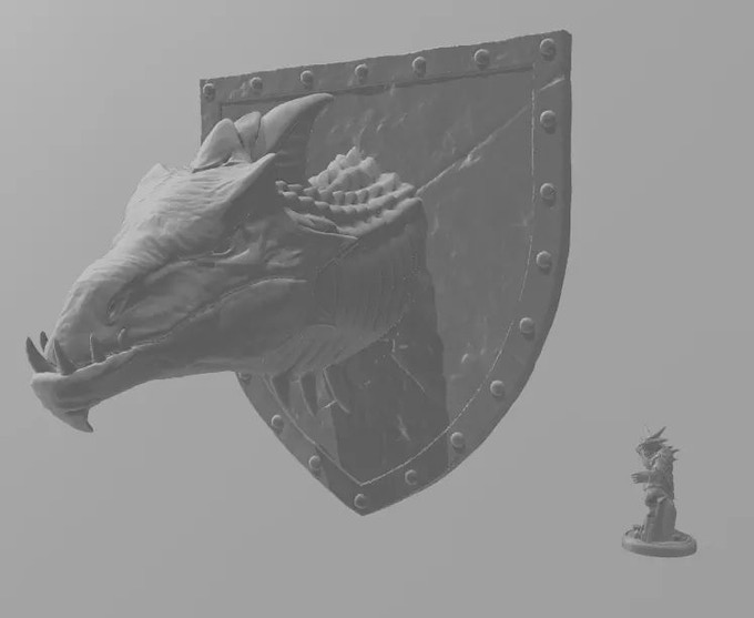 Large-Scale Dragon Wall Mount Early Concept (with mini for scale)