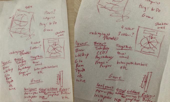 "Logan's original sketches for ""The Wheel of Fun."""