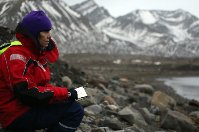 Danielle Eubank sketching in the Arctic. Photo: unknown