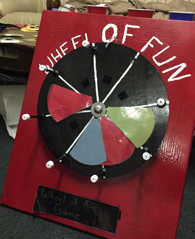 "Dicey's humble origins: the broken-ass-coffee-table ""Wheel of Fun"""