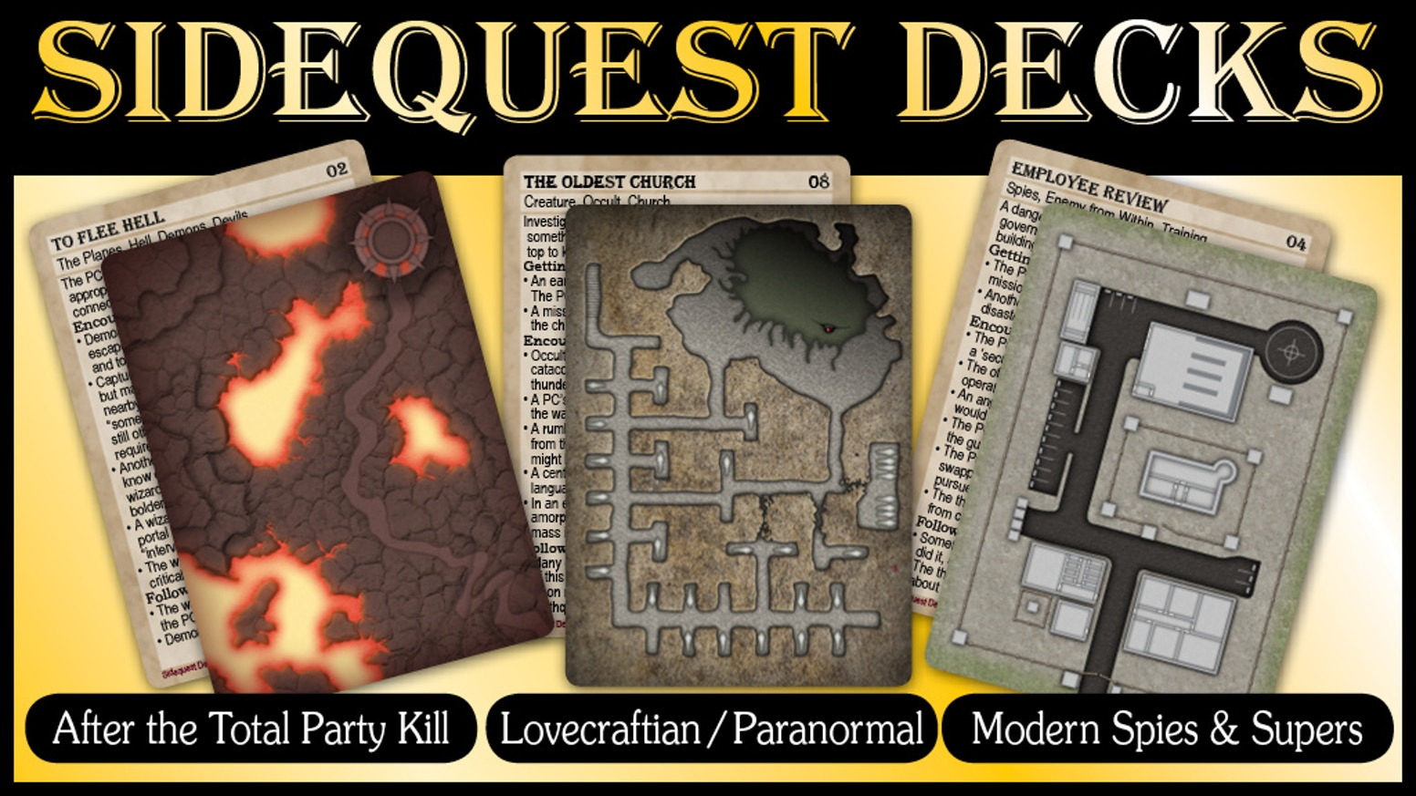 More Sidequest Decks! Each card is a system neutral mini-adventure. One side is the main map, the other is the adventure outline.