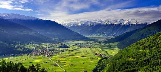 """Valley """"Vinschgau"""" in the background left the village """"Schluderns"""""""