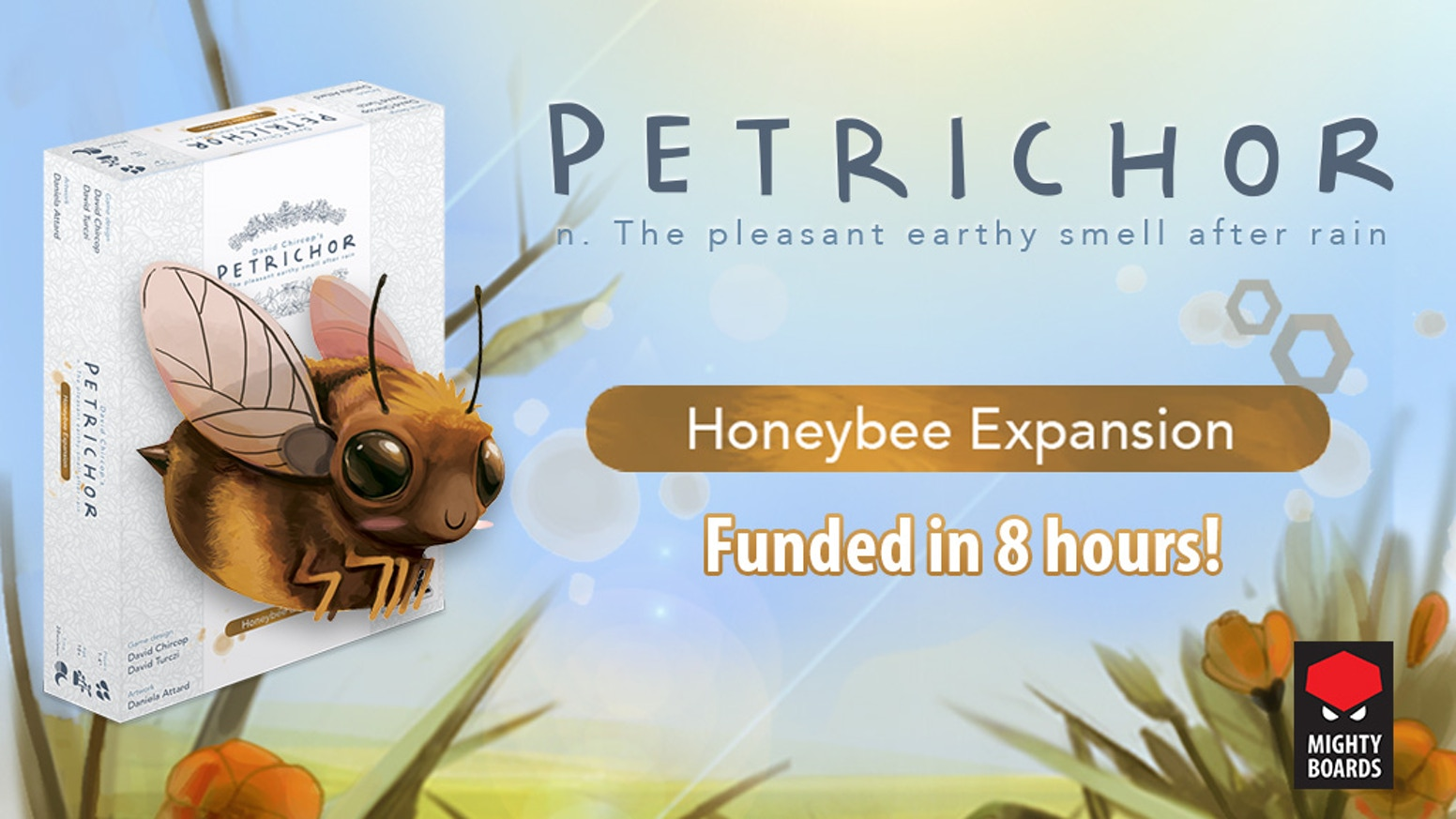 A sweet buzzing expansion to Petrichor, and a reprint of the base game