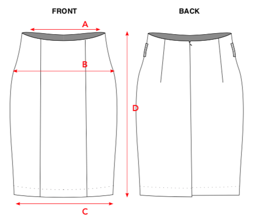 A: 1/2 Waist; B: 1/2 Hip; C: 1/2 Hem; D: Full Length
