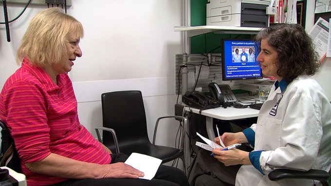 Dr. Danielle Ofri, co-founder of the Bellevue Literary Review,                meets with her patient at Bellevue Hospital in NYC.