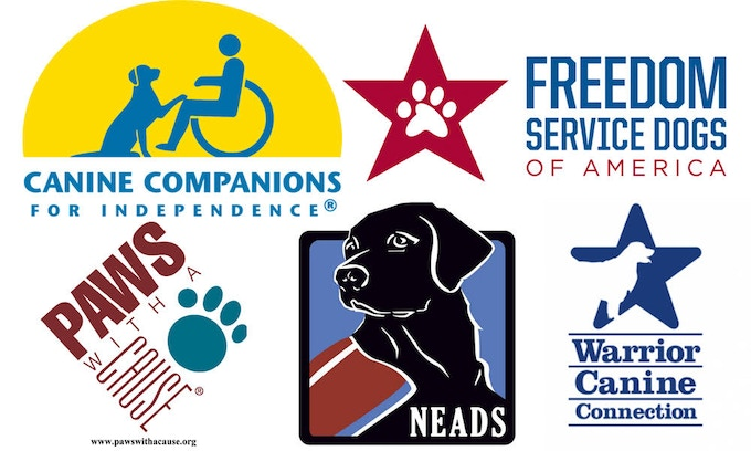 """Top L to R: Canine Companions for Independence ®; Freedom Service Dogs of America; Bottom L to R: PAWS With A Cause ®; NEADS; Warrior Canine Connection - for more on their central role to the service dog process, and website addresses, see the section """"The Organizations that Make it Work"""", below"""