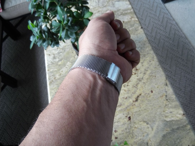 Mesh bracelet on wrist