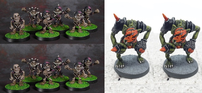 Team 1. 12 Goblin Linemen and 2 metal Trolls