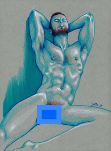 """Joseph Giampietro, """"Zaddy"""" 9"""" x 12"""" Color pencil, marker  (jgiampietro on Insta)"""