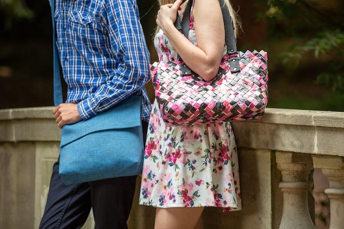 Tomas Small Messenger Bag and Julia Upcycled Magazines handbag.