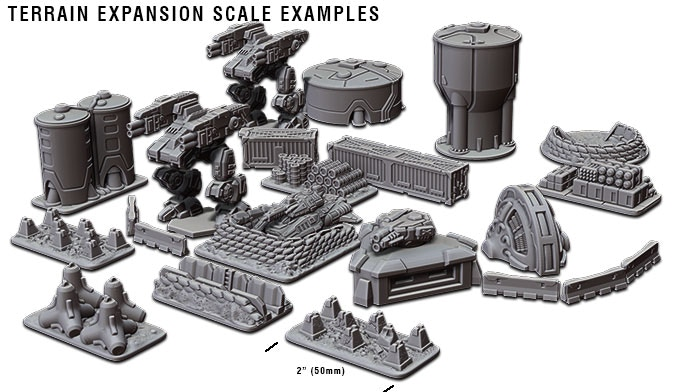 A few examples of the TERRAIN EXPANSION SET, shown in scale with the Crusader CAV and the Banshee Grav-Tank!