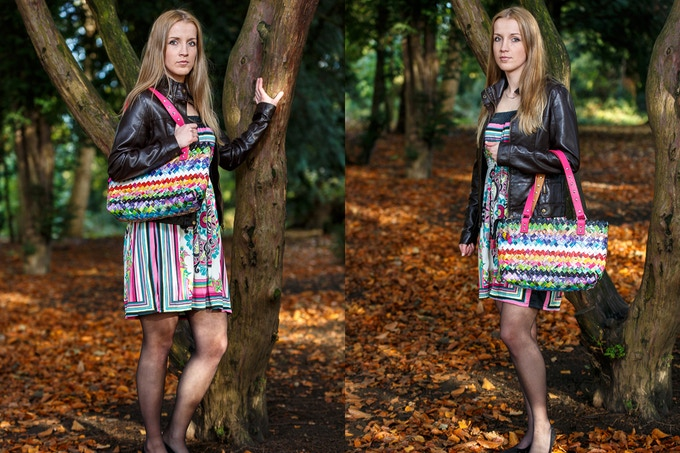 Julia Handbag made out of upcycled magazines.