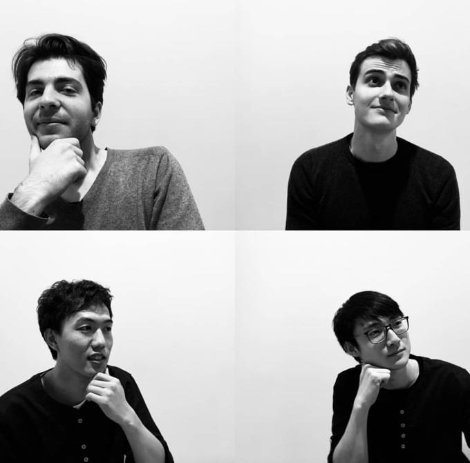 L'équipe Atelier Wen (du gauche à droite et haut en bas: Robin Tallendier, Wilfried Buiron, Li Mingliang, Liu Yuguan)