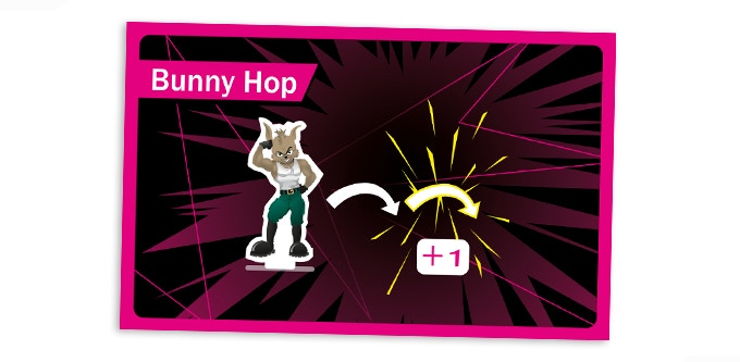The Bunny Hop Booster Card enables you to move your Rabbit an extra space, allowing you to more easily move into a better position to attack, or perhaps move out of harms way!