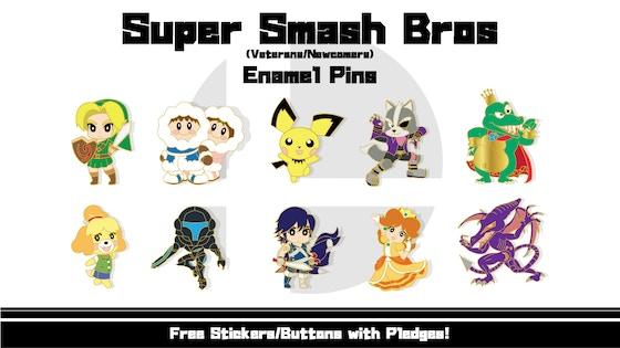 Track Super Smash Bros Veteran And Newcomer Enamel Pins S Kickstarter Campaign On Backertracker