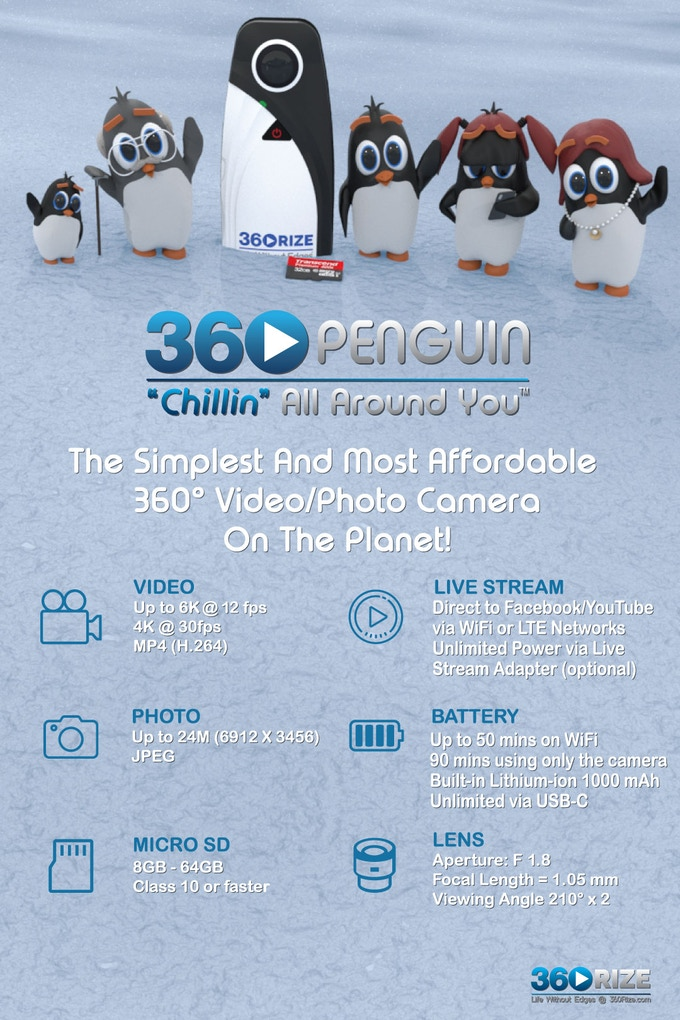 360Rize 360Penguin is the easiest to use 360 camera on the planet!