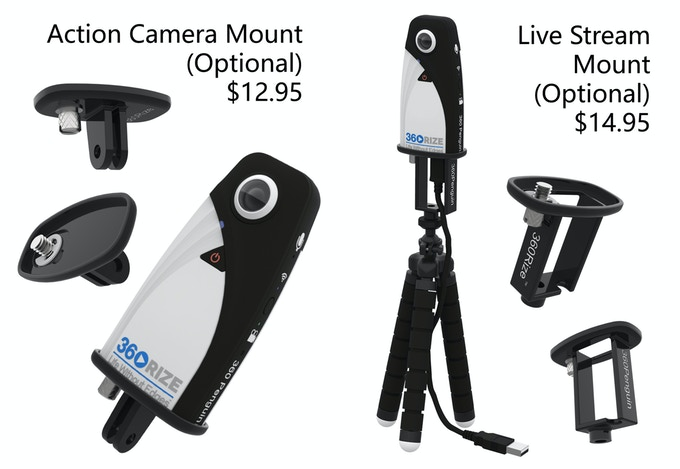 Optional 360Penguin Accessories.  Action Camera Mount Adapter ($12.95), Live Stream Mount Adapter ($14.95)